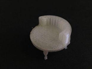 stuffed round chair w queen anne legs