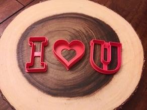 Valentine I Love U cutters