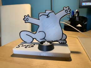 Simon's Cat phone stand with QI charger