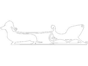 Wiener Dog Sleigh Ornament - Laser Cut
