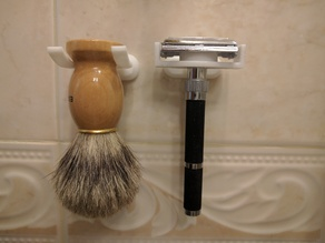 Wall mounted double edged (safety) razor holder
