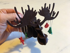 Holiday Moose Head with Ornaments