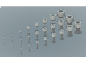 Metric Socket Head Screw, f3d, stp and STL Files (M2-M10)