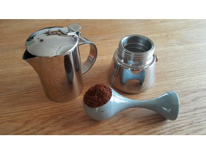 Coffee measure spoon and pusher (tamper)