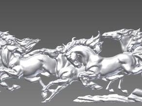 Relief running horses