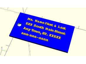 Luggage Tag with raised letters