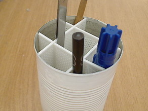 tin-can pencil holder