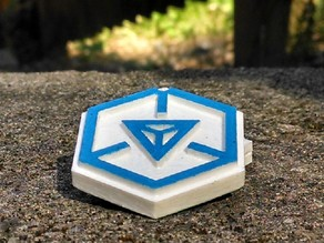 Ingress Enlightened 2-sided keychain. Prints as 1 piece.