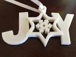 spinning snowflake joy xmas ornament