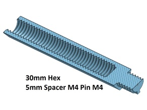Hex 5 Spacer, Standoff 10, 20, 30, 40, 50, 60, 70, 80, 90, 100 mm; M4 Pin M4