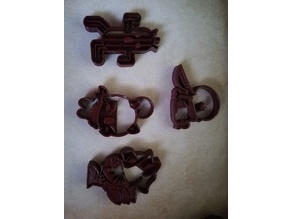 final fantasy cookie cutters (chocobo, cactuar, moogle, tonberry)