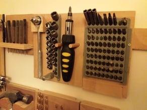 vertical (wall mounted) hex bit storage