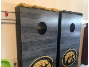 Cornhole board hanger for GearTrack