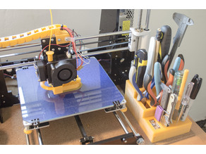 Modular desktop tool holder for 3D printing.