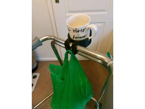 Walker/Zimmer frame cup holder carrier
