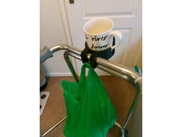Walker/Zimmer frame cup holder carrier by madmachinations - Thingiverse