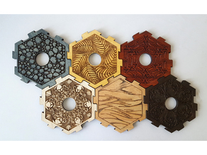 CATAN center tiles and pips (by Glowforge)