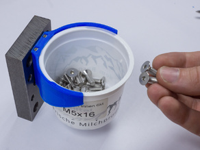 Bracket for Recycled Yogurt Cup to build a Screw Storage