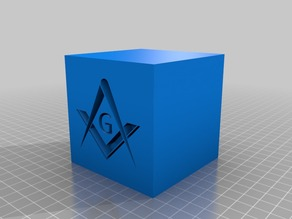 Masonic Compass and Square on a perfect cube