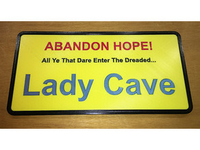 "Multicolour Lady Cave ""Man Cave"" Plaque"