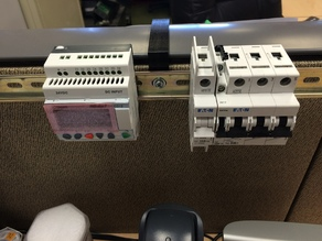 DIN rail mounts for 3 inch cubicle walls