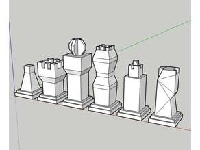 Modern Art Chess Set (Squared Minimalist, Low Poly)