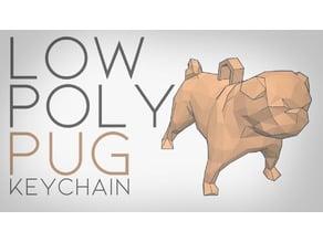 Low Poly Pug Keychain