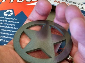 Proto-pasta Sheriff Star Badge Metal Composite Test Piece