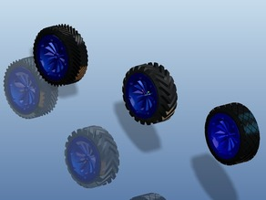 Printable wheel for rc cars with rim and mold for the rubber