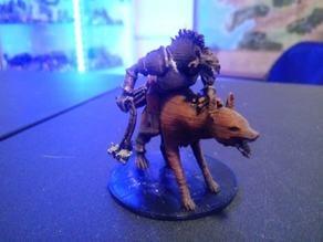 Gnoll Riding a Hyena (Hyaenodon)
