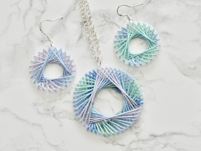 String Art Spirograph Earrings and Pendant