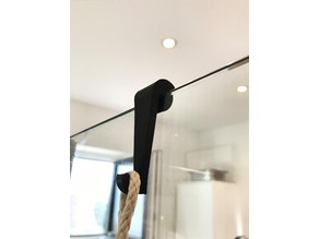 Shower hook (eg. for towels, brushes) for 8mm glass