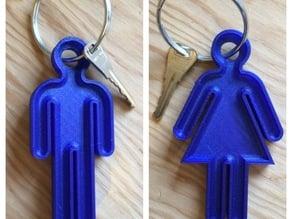 Washroom keychain figures