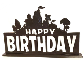 2 Color Fortnite Themed Happy Birthday Cake Topper or Stand Alone