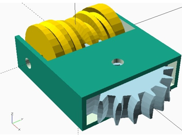 globoid worm gear drive - parametric OpenSCAD code with large ratio
