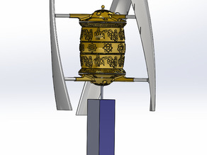 Wind driven prayer wheel