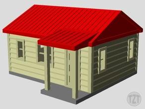 Log Cabin, House, (HO, O, N scale model railroad layout)