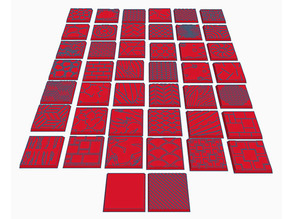 44 Square Bases (25mm) for Dungeons & Dragons or Wahammer tabletop Miniatures