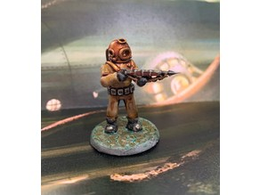 28mm Sci Fi Deep Sea Diver with Harpoon Gun