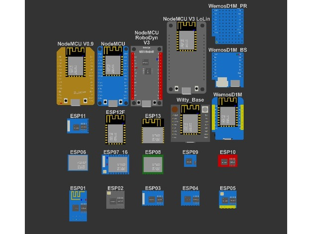 ESP8266 based modules models library by DonJuanito - Thingiverse