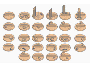32mm Bases (x28) for Paper Miniatures Desert themed perfect for Dungeons & Dragons or Warhammer