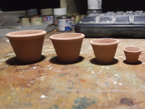 SCALEPRINT 1:12 DOLLS HOUSE TERRACOTTA POTS FOR PLANTS