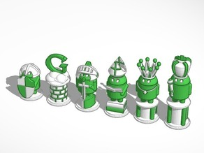Medieval Android #Chess Set White
