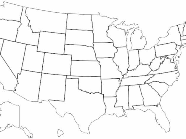 Map Of USA By Ericatkinson Thingiverse - Drawing of usa map