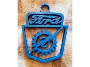 Old Ford Pickup Hood Emblem Logo - Lightning and Gear