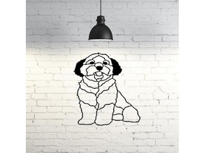 Maltese dog wall sculpture 2D