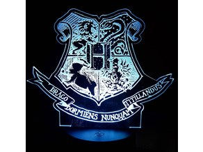 Hogwarts Coat of Arms Crest - LED Lamp Plate