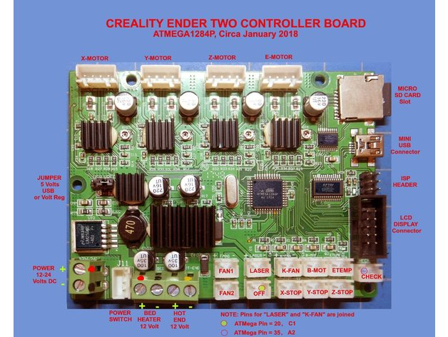 Creality Ender2 Controller Board  Labeled  by lewtwo