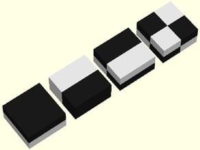 two colour calibration cubes