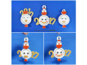 2017 HAPPY CHINESE NEW YEAR-YEAR OF The Rooster Face change Keychain